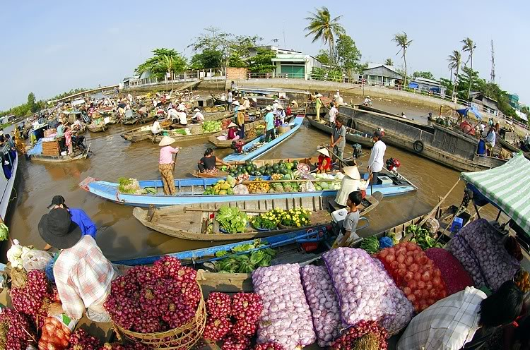 floating market - mekong delta - Vietnam and Cambodia Tour