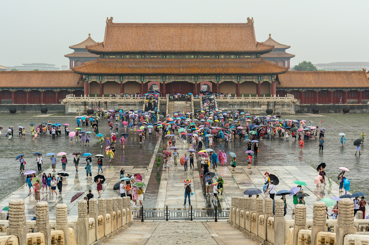 Forbidden City rain China